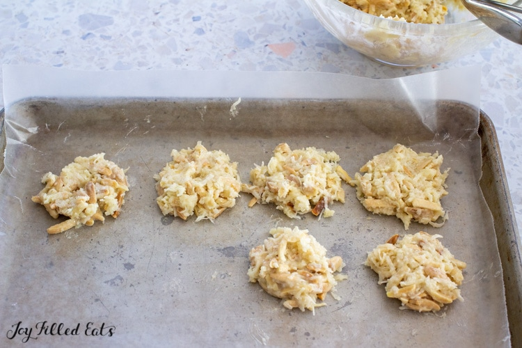 no bake cookies on waxed paper lined tray