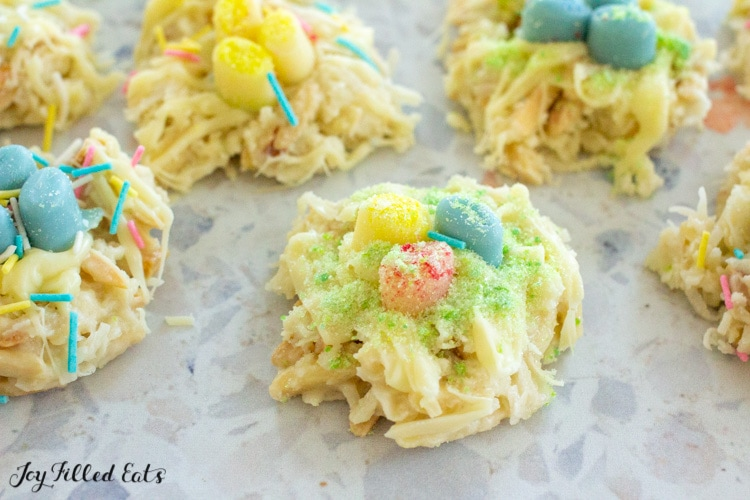 sugar free bird's nest cookies on a speckled background