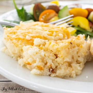 close up of cheesy cauliflower rice