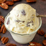 close up of keto butter pecan ice cream