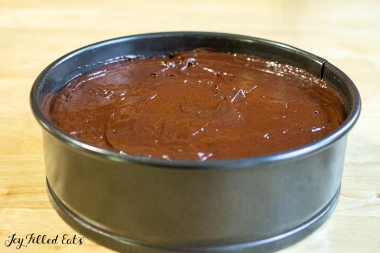 chocolate ganache on top of the cheesecake