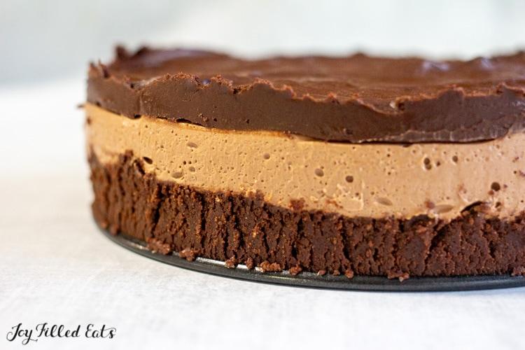 keto cheesecake showing three layers