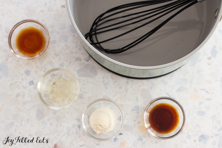 water and sweetener in small pan