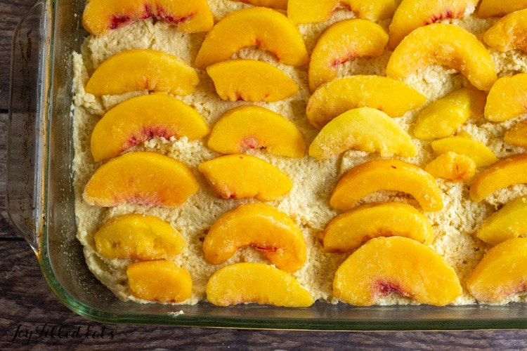 frozen peaches on top of batter