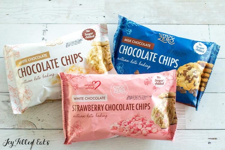 three bags of choczero chocolate chips