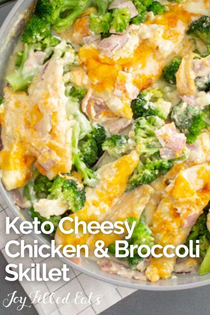 pinterest image for chicken broccoli skillet