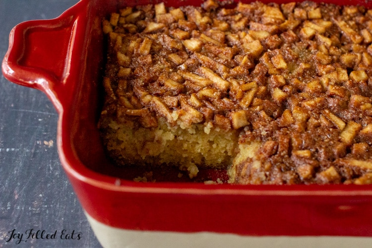 baking dish with keto apple cake missing a piece