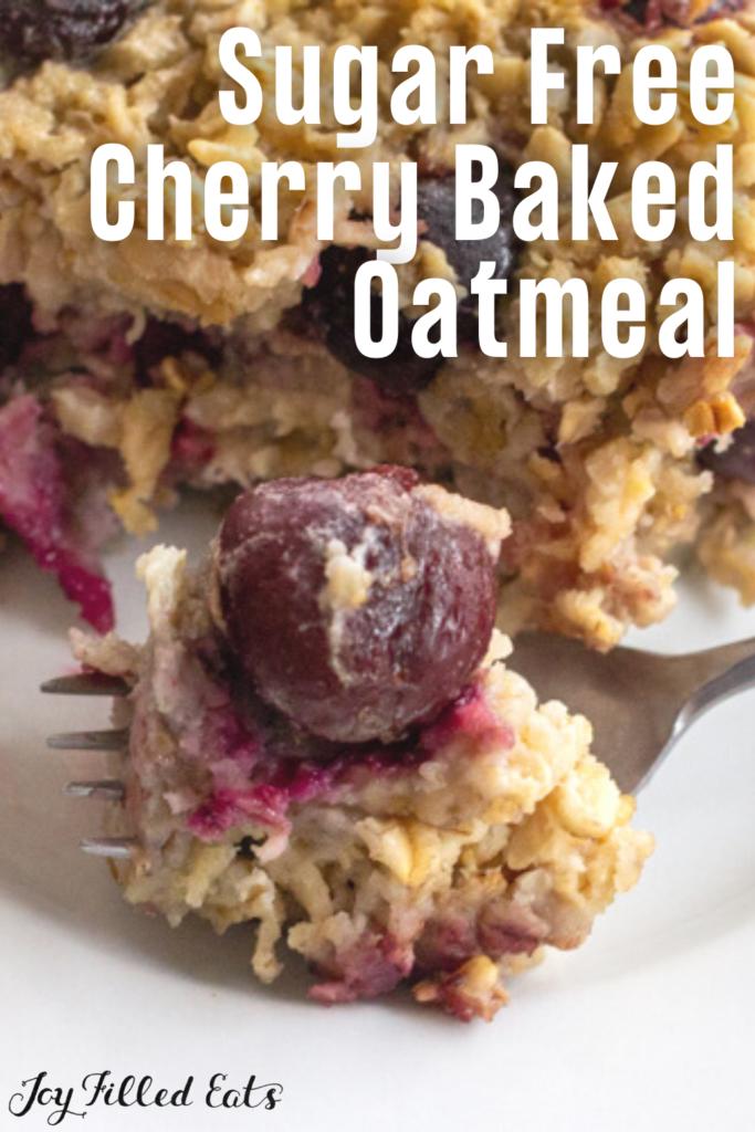 pinterest image for baked cherry oatmeal