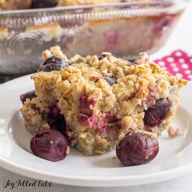 plate with baked cherry oatmeal
