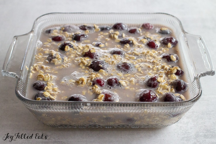 mixture for the baked oatmeal in a glass dish