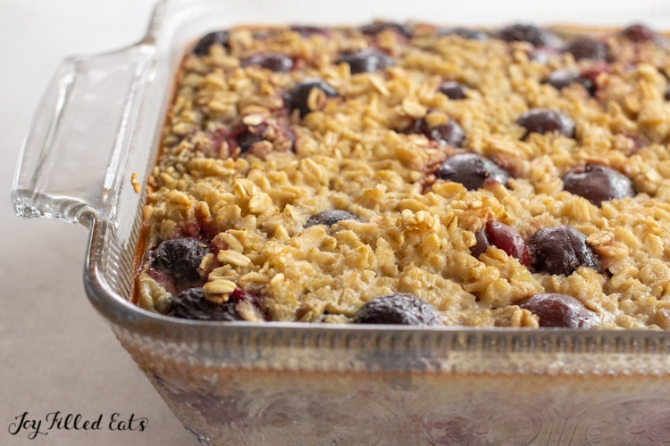 glass dish of baked cherry oatmeal