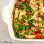casserole dish topped with basil