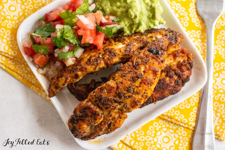 plate with blackened chicken tenders
