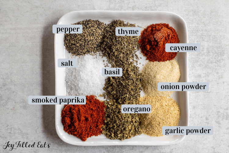 plate with little piles of each spice