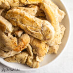 close up on a plate of instant pot chicken tenders