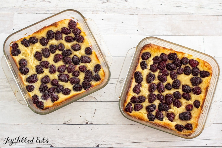 baked keto blackberry cobbler in two 8x8 dishes