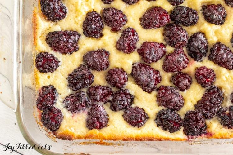 close up of baked keto blackberry cobbler