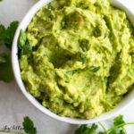 close up of low carb guacamole in a bowl