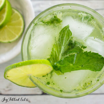 close up of keto mojito overhead with lime and mint