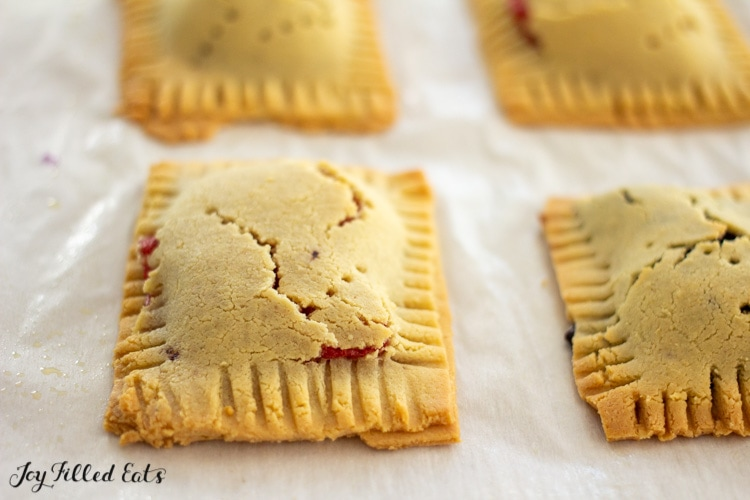 baked low carb keto pop tarts on a parchment lined baking sheet