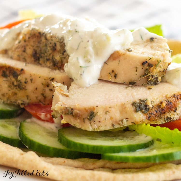 grilled chicken topped with keto tzatziki sauce