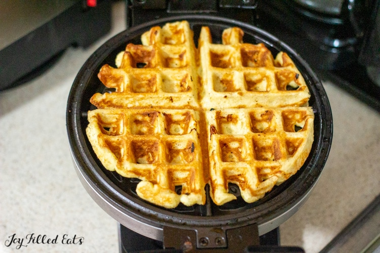 almond flour vanilla waffles in a waffle maker