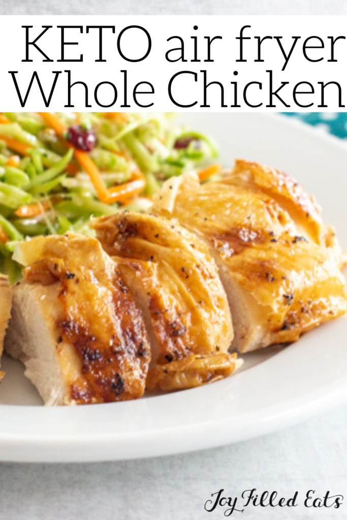 pinterest image for air fryer whole chicken