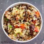 overhead shot of black bean quinoa avocado salad