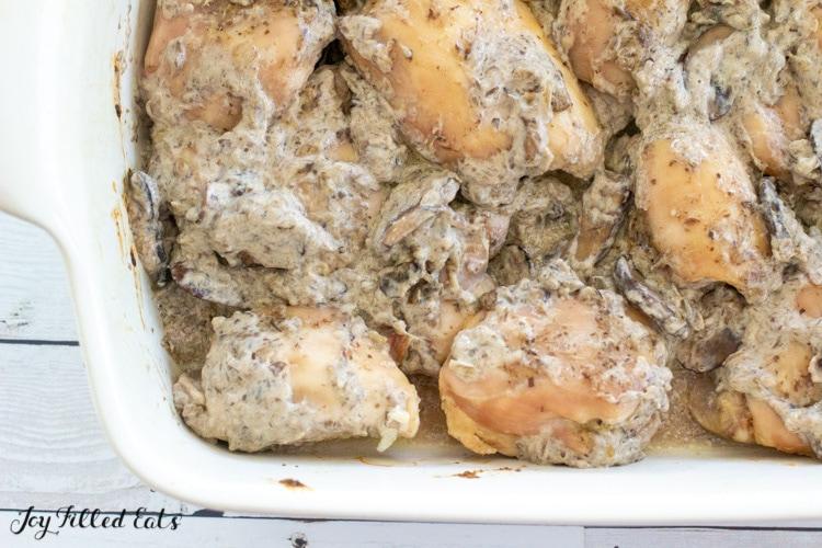 overhead shot of chicken thighs with mushroom sauce
