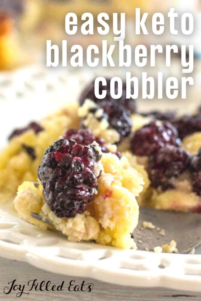 pinterest image for keto blackberry cobbler
