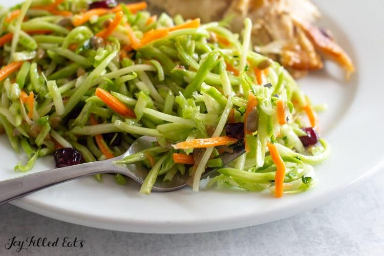 close up of keto broccoli slaw on a plate