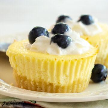 close up of a keto cheesecake cupcake