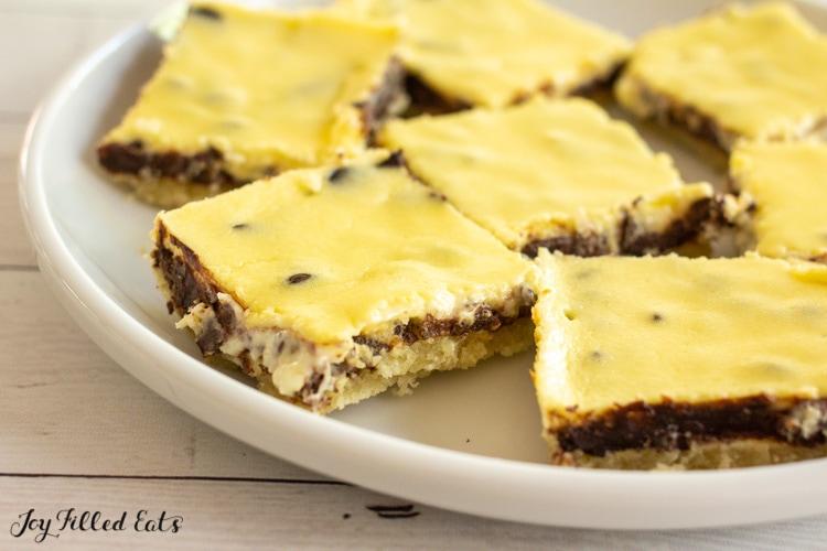 plate of keto chocolate chip cheesecake bars