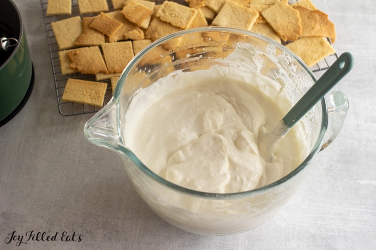 creamy vanilla pudding filling in mixing bowl