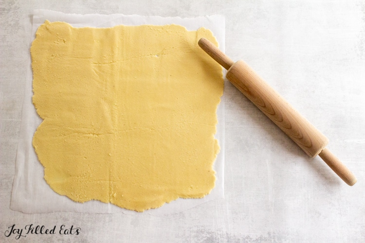 dough rolled thin with a rolling pin