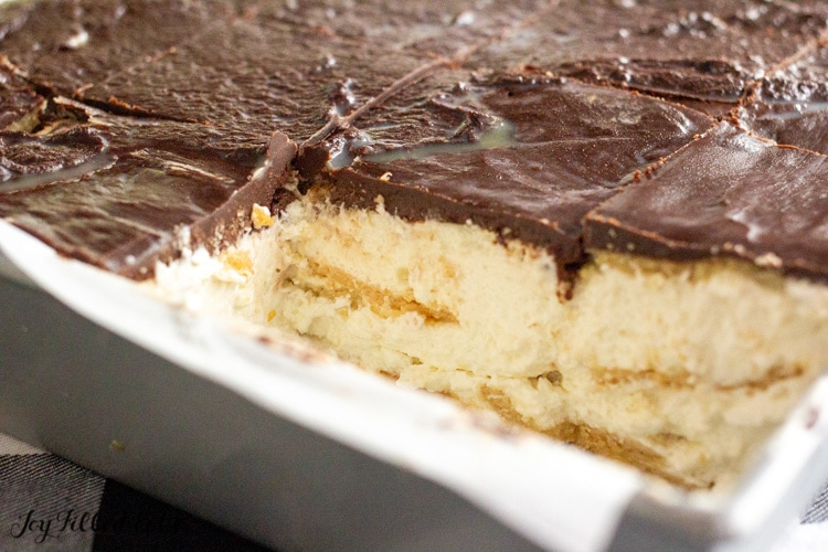 keto eclair cake missing a piece in the baking pan