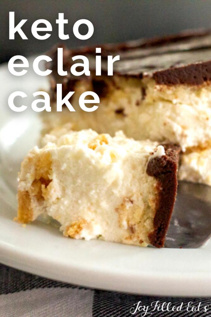 pinterest image for keto eclair cake