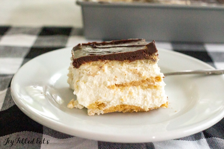 plate with piece of keto eclair cake