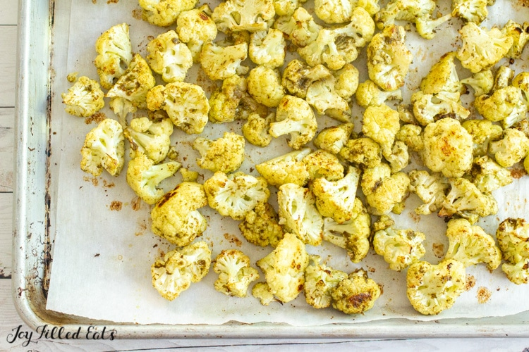 roasted cauliflower on tray