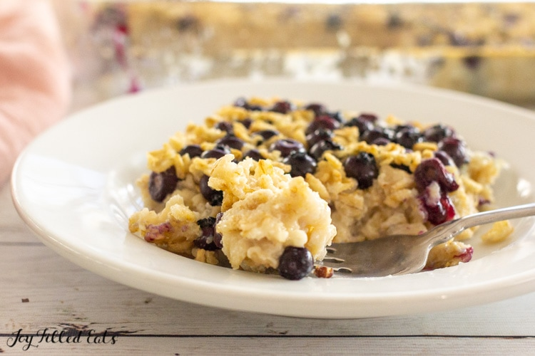 bite of baked oatmeal on a fork