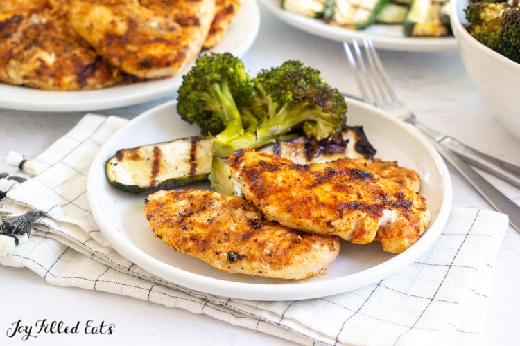 plate with keto barbecue chicken and grilled vegetables