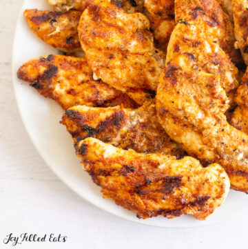 close up of a plate of keto barbecue chicken tenders on a plate