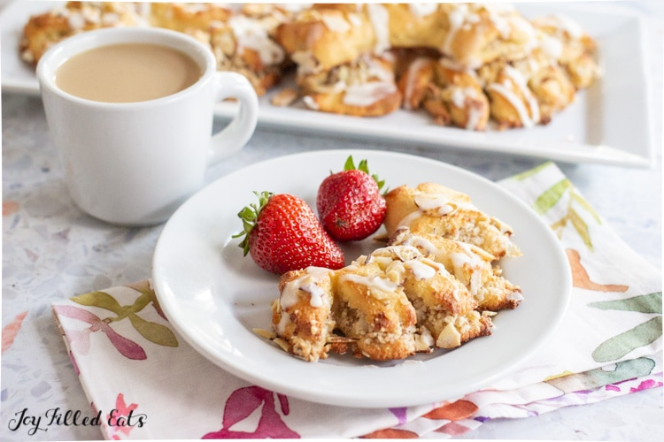 plate with pastry and strawberries