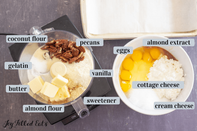 ingredients in bowls and food processor
