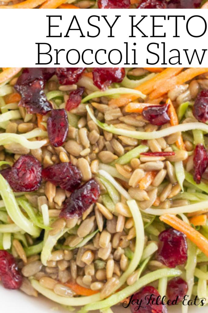 pinterest image for keto broccoli slaw