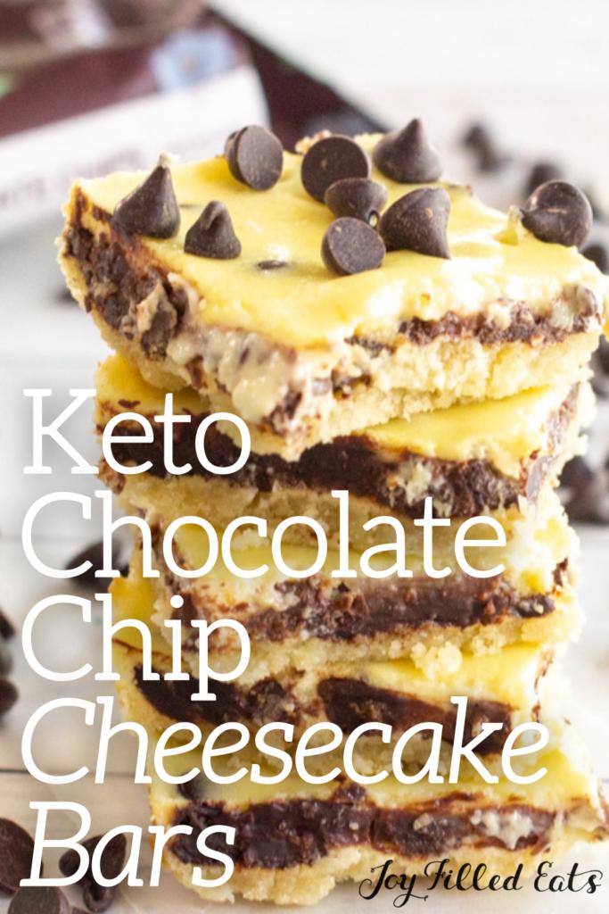 pinterest image for keto chocolate chip cheesecake bars