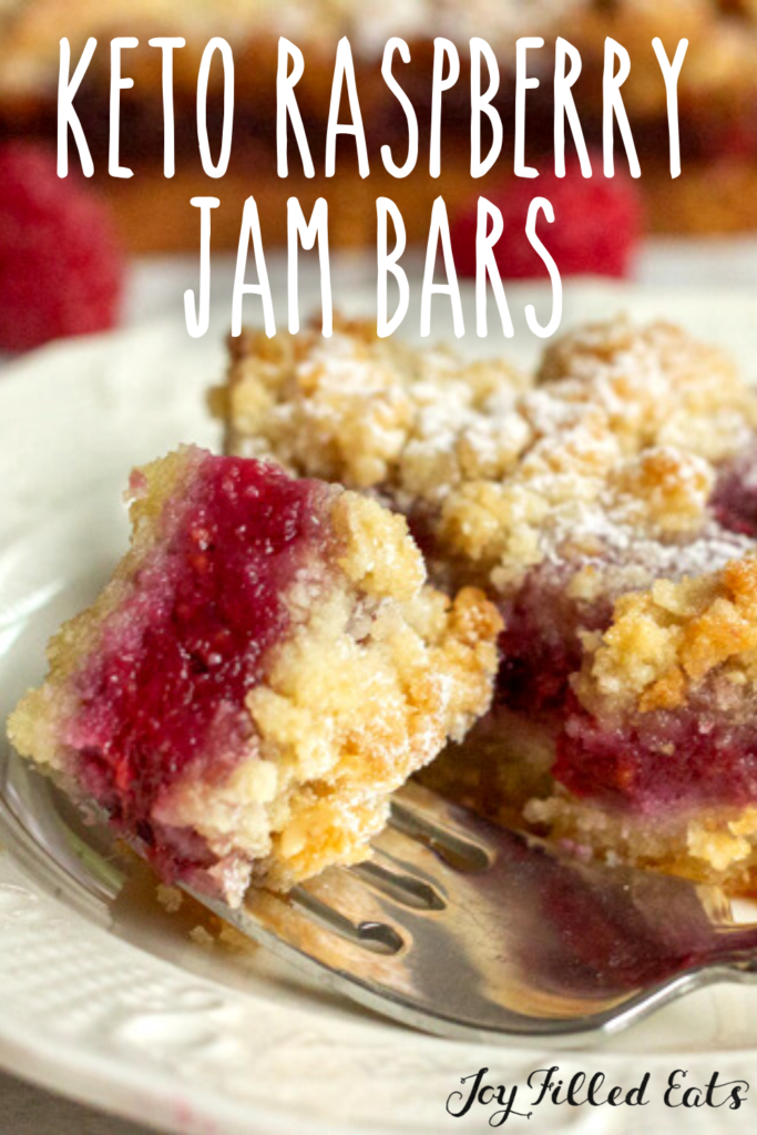 pinterest image for keto raspberry jam bars