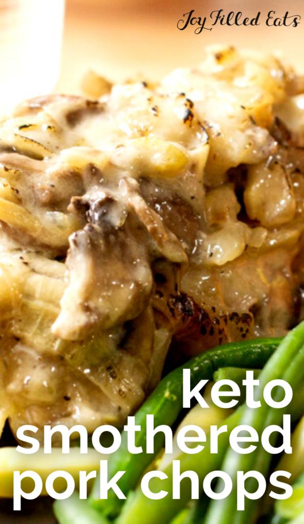 pinterest image for keto smothered pork chops