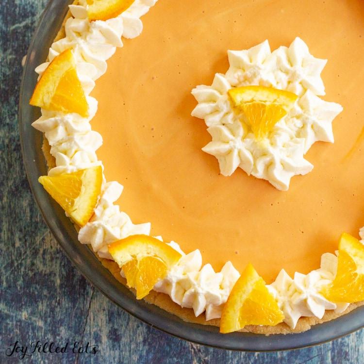overhead shot of orange creamsicle cheesecake