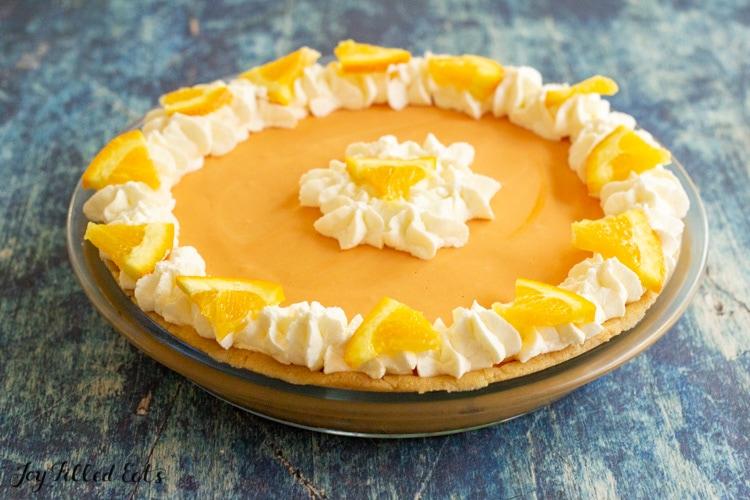 side view of the keto orange cheesecake